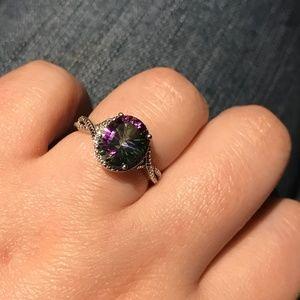 Rainbow Mystic Fire Topaz Diamond Ring SS .925